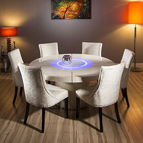 large round cream gloss dining table glass lazy susan 6 carver chairs avant garde http