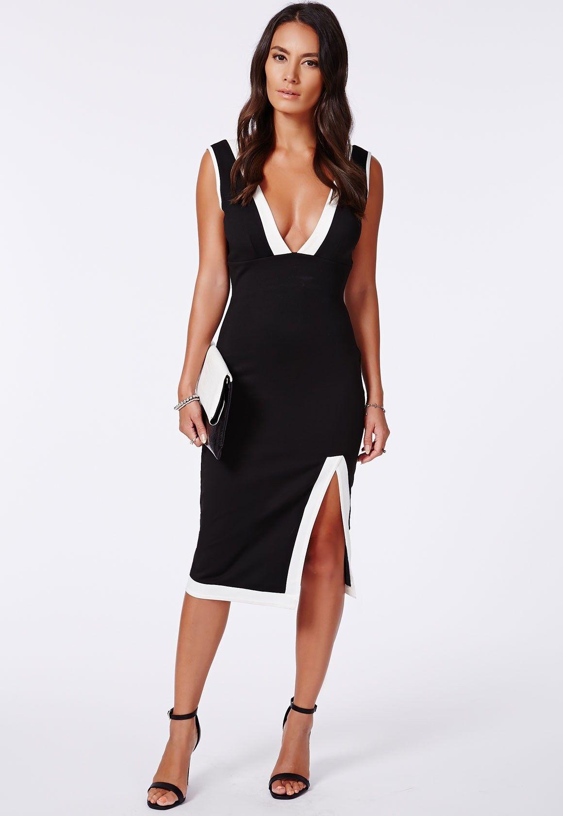 Sally Scuba Black with White Contrast Midi Dress - Dresses - Midi Dresses - Missguided