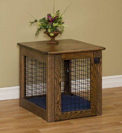 Amazon Com Chew Proof Wooden Dog Crate Large Oak Kitchen
