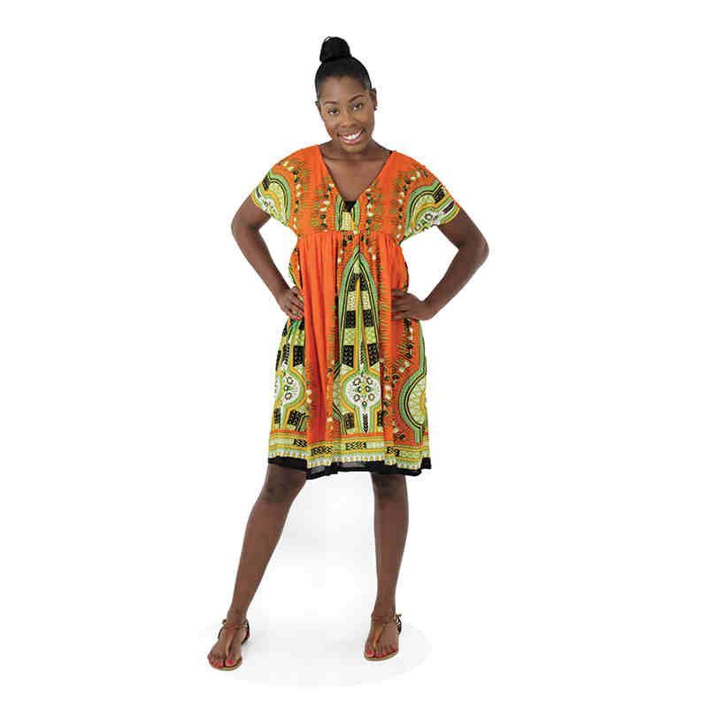 Traditional Print Short Dress