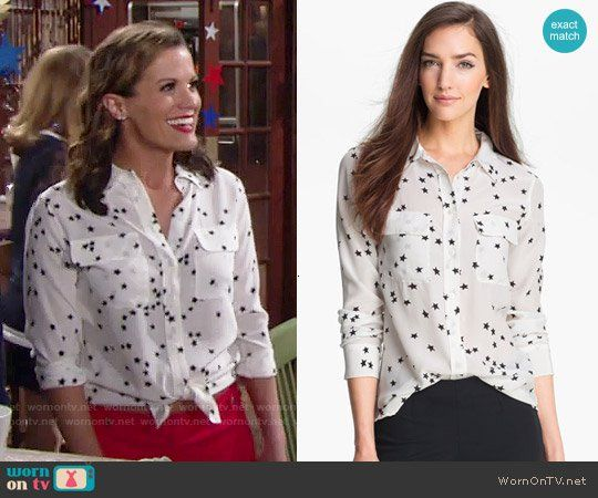 3f6ccafcfbf451 Chelsea s white star print shirt on The Young and the Restless. Outfit  Details  https   wornontv.net 73594   TheYoungandtheRestless