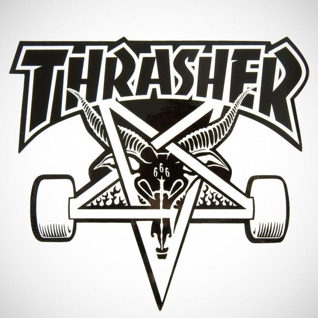Thrasher Skate Goat Sticker X-Large Black/White