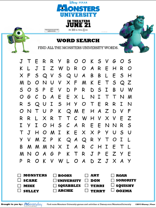 Monsters University Word Search Disney Paper Activities