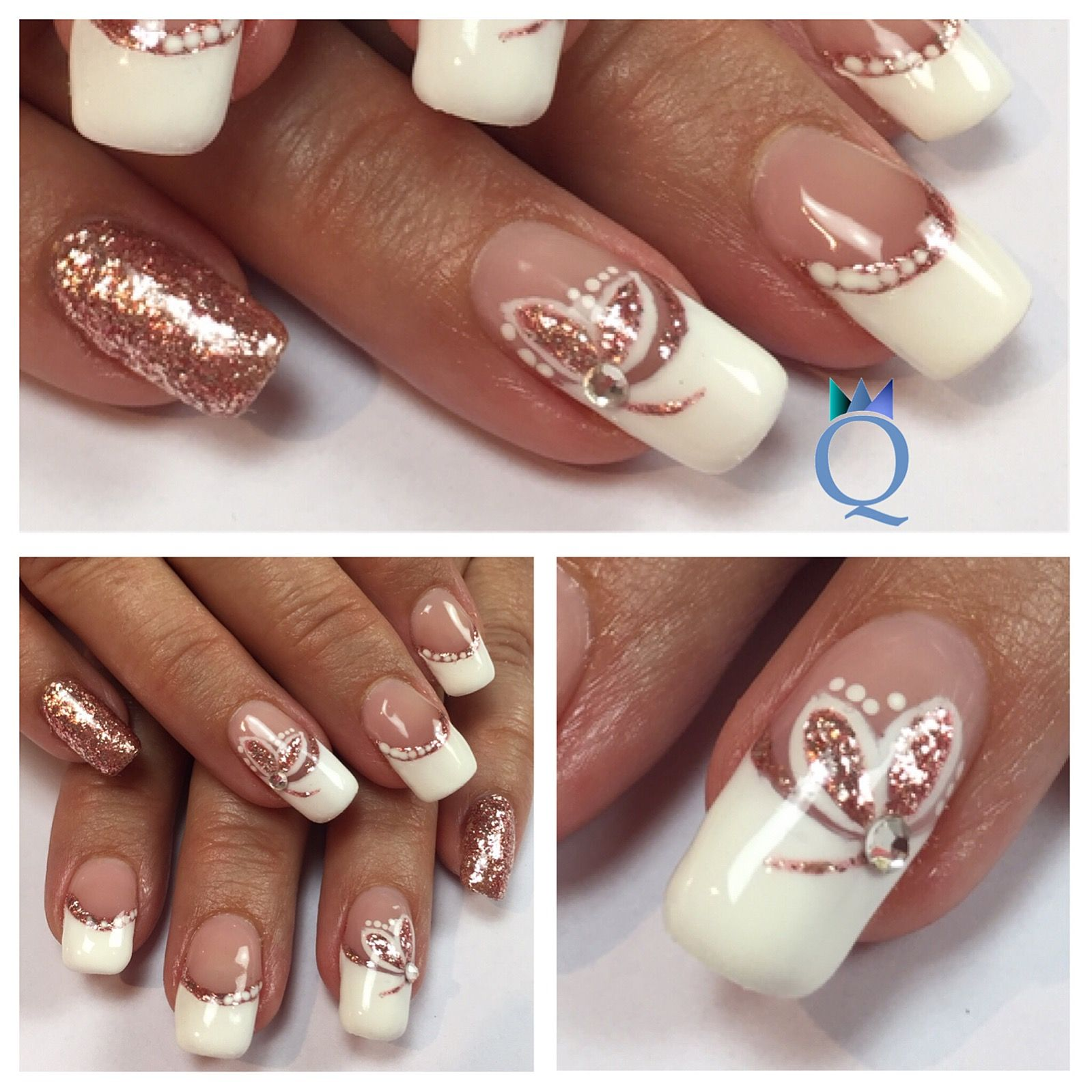gelnails #nails #frenchnails #rosegold #handpainted #gelnägel #nägel ...