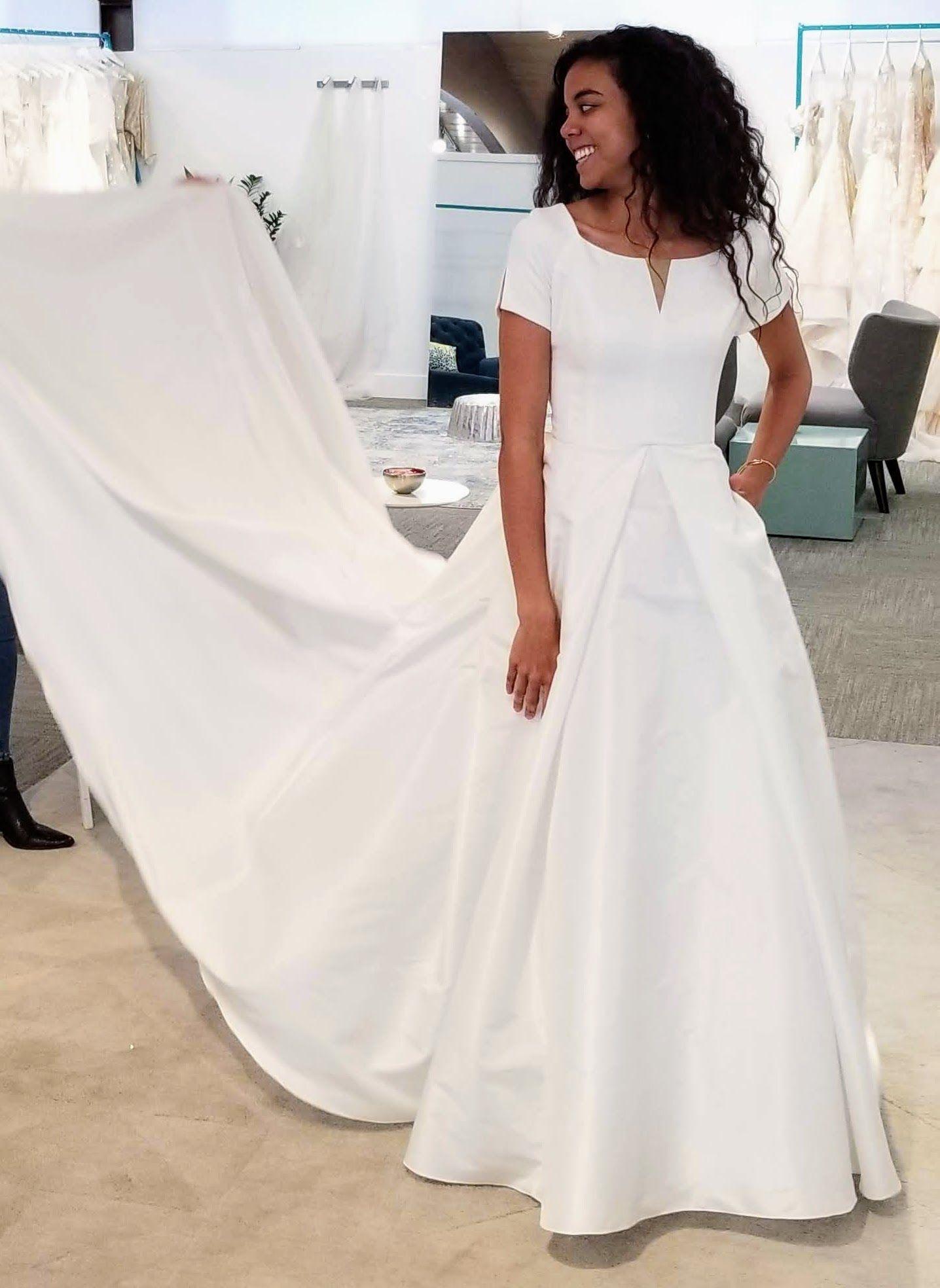Alta Moda Moest Wedding Dress With Pockets And A Long Train Utah Bridal Shop A In 2020 Wedding Dress With Pockets Customizable Wedding Dress Modest Wedding Dresses