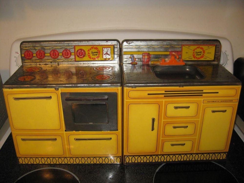 Vintage Metal Toy Kitchen Set Yellow Sunny Suzy Stove Sink Wolverine Toy Kitchen Set Toy Kitchen Kitchen Sets