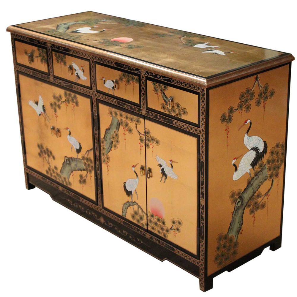 Hand painted on gold leaf crane design oriental sideboard for Hand painted oriental furniture