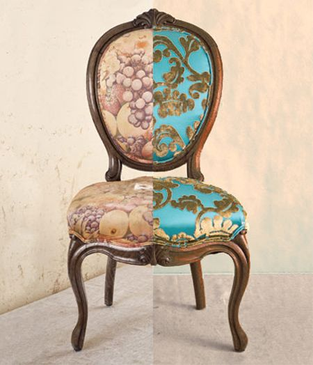 reupholster upholster recover dining chair  Trash to