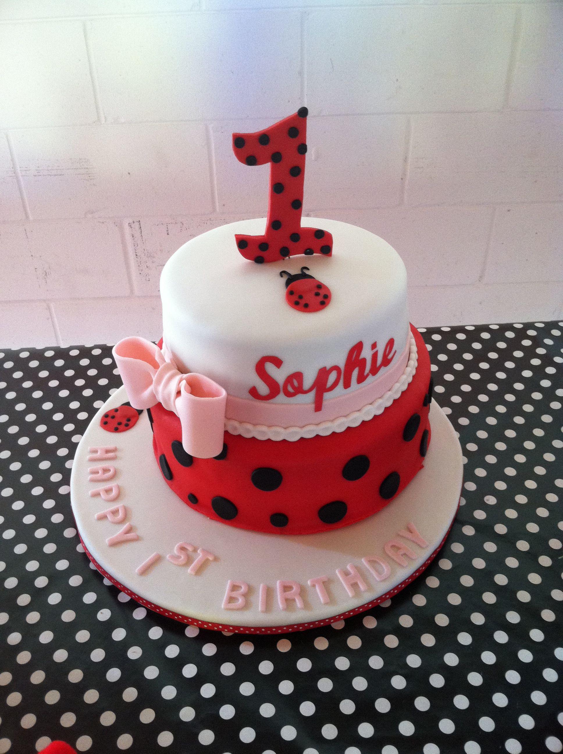 Ladybug Birthday Cake!   Harper 1st Bday   Ladybug 1st birthdays ...