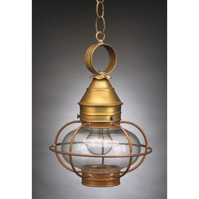 Northeast Lantern Onion 1 Light Outdoor Hanging Lantern Finish: Verdi Gris, Shade Type: Clear Seedy