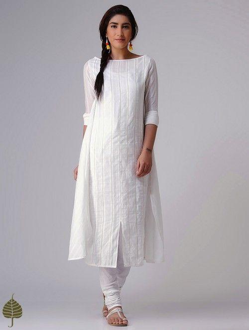 c0d79d88cb White Murshidabad Handloom Cotton Kurta in 2019   salwar design ...
