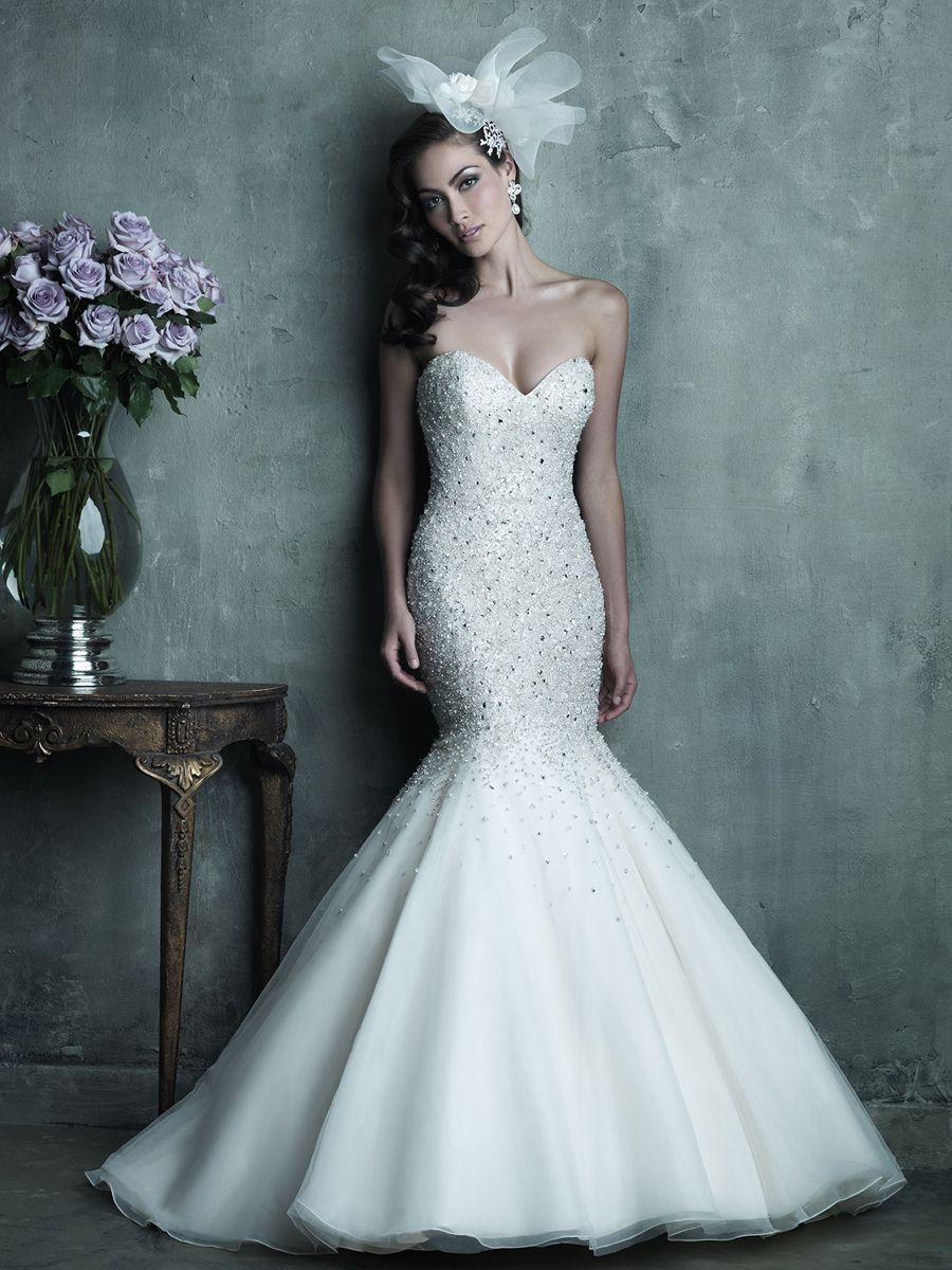 Strapless Sweetheart Beaded Bodice Mermaid Wedding Dress | Wedding ...