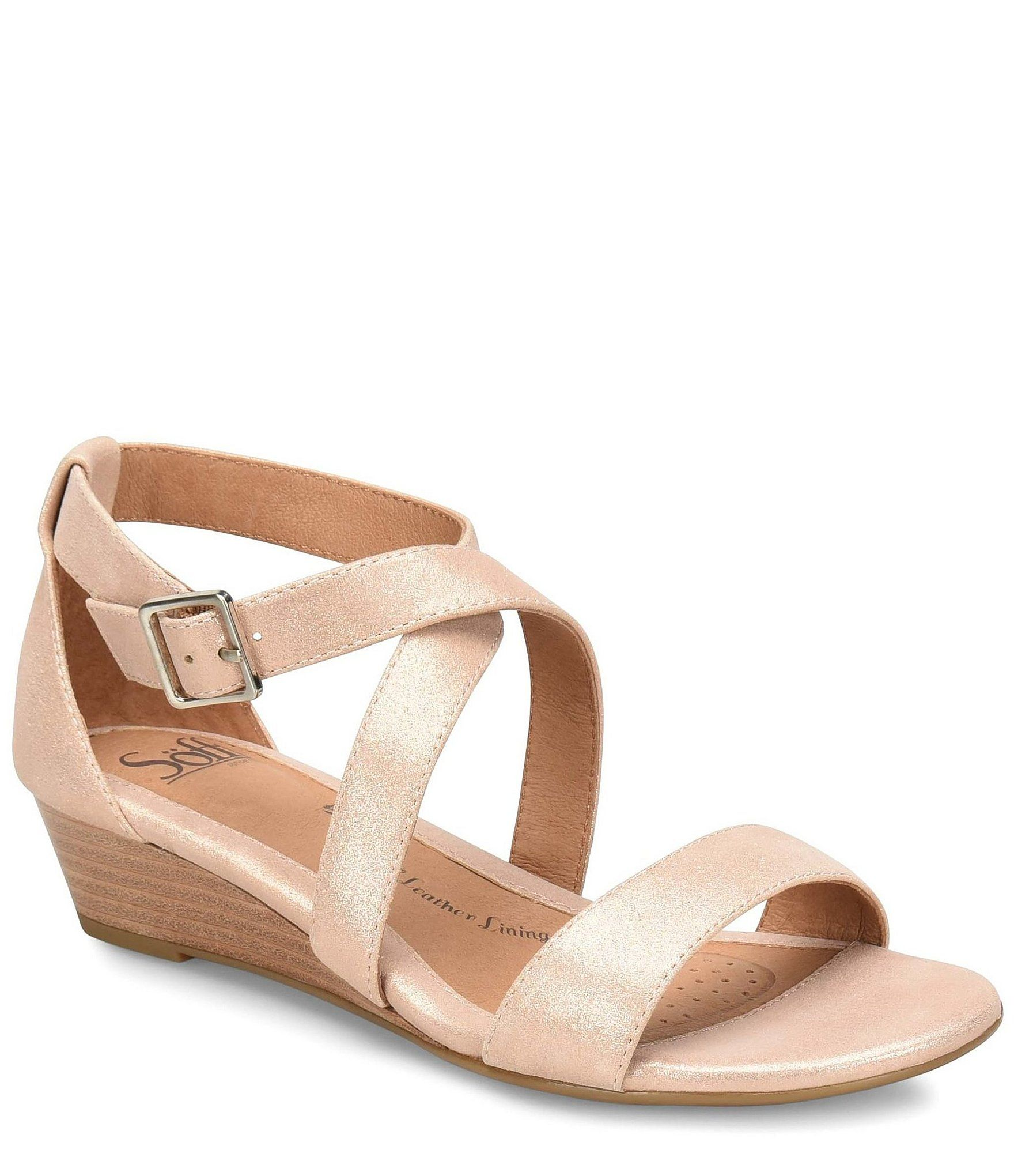 Sofft Innis Metallic Leather Criss Cross Wedge Sandal Rose