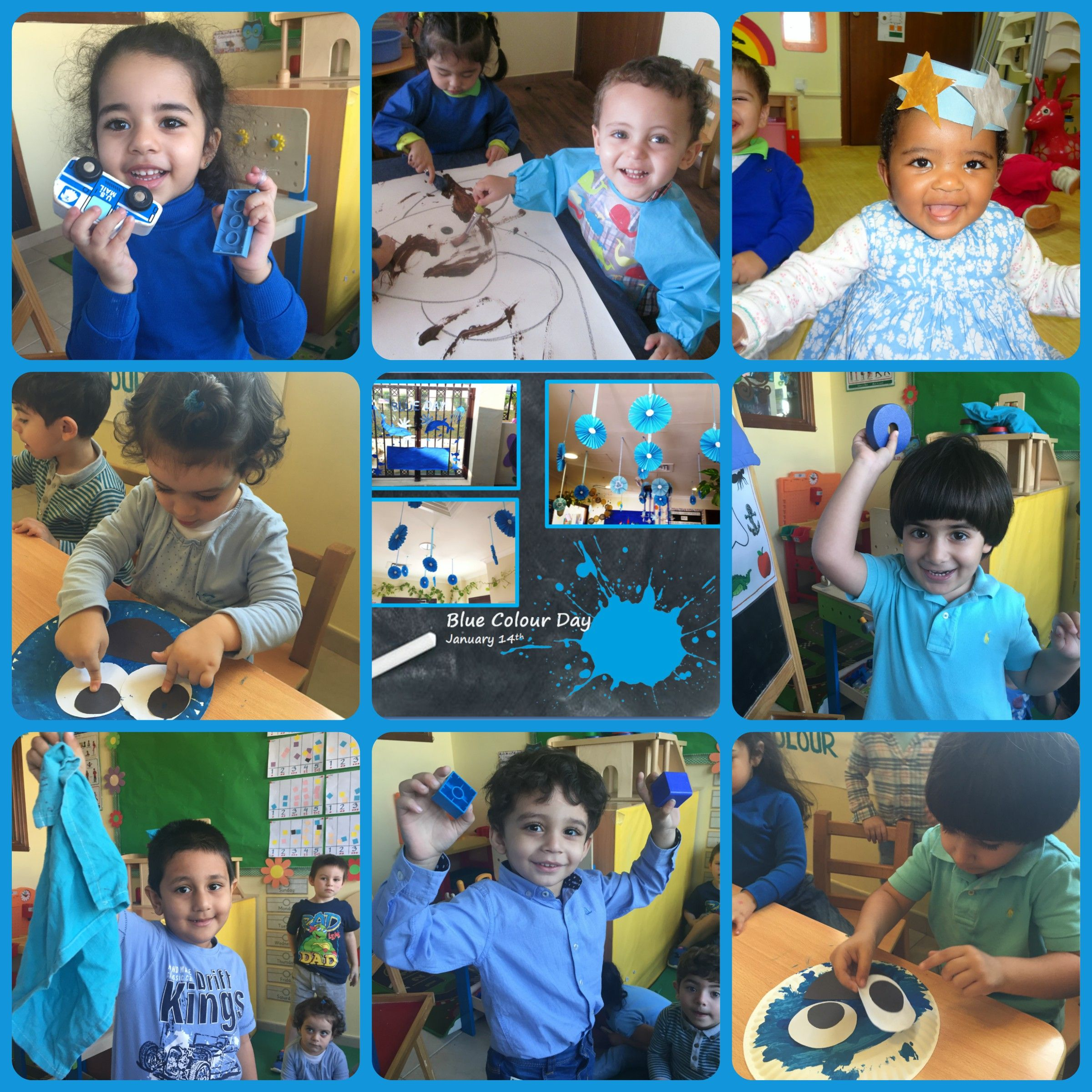 We Love Having Nursery Colour Days Where All The Children Come To Preschool Dressed In That Colour And Enjoy Games And Acti Nursery Colors Blue Color Preschool