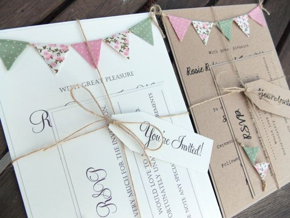 Rustic Wedding Invitation. Unique Bunting Invitation Country Cottage Wedding on kraft card with jute twine