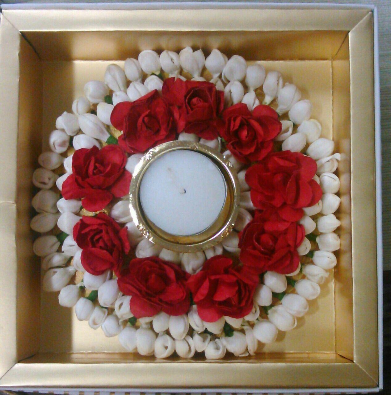 T lite candle floral platter Diy diwali decorations