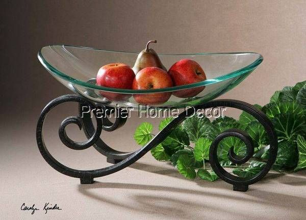 Tuscan Black Crackle Metal Stand Clear Glass Decorative Bowl Scroll Design    Premier Home Decor