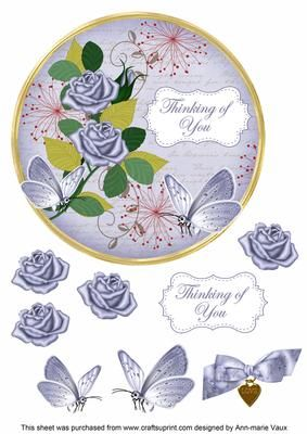Blue Rose Thinking of You 7in Circle Decoupage Topper on Craftsuprint - Add To Basket!