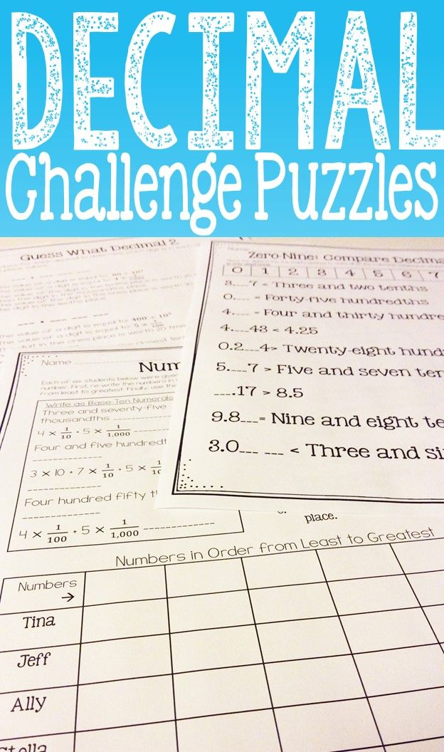 Decimal Place Value Enrichment Decimal Logic Puzzles Decimal
