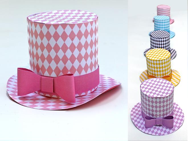 0915d1c14 Mini top hat ideas. Printable PDF templates. Party fashion DIY | Box ...