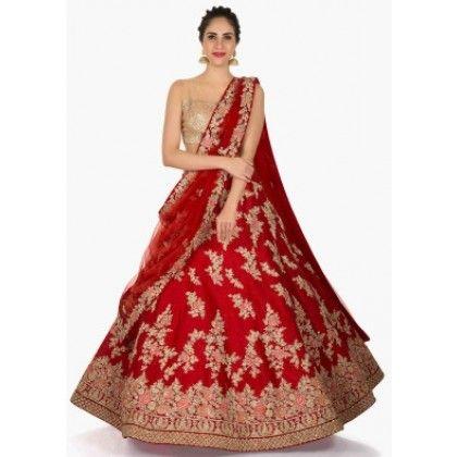 8a9dbd96f0 Tomato Red And Golden Lehenga Choli red wedding lehenga choli ...