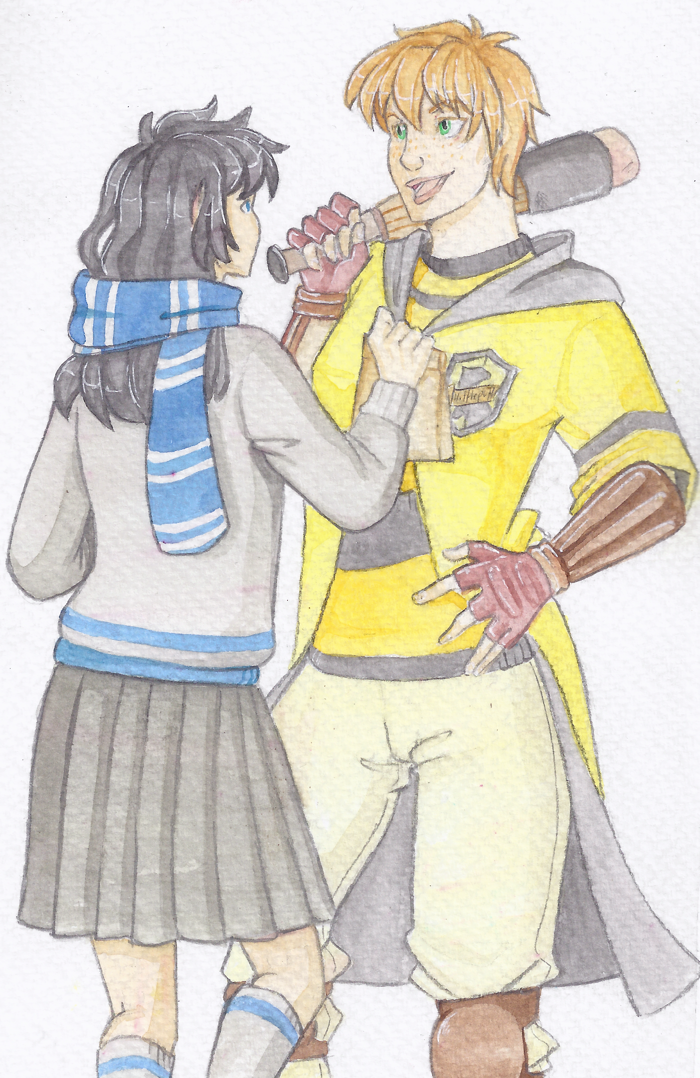Beater!Deanne (fem!Dean) and Castielle chat before a game. Just a rapid sketch done with watercolour about my two favourite idjits XD