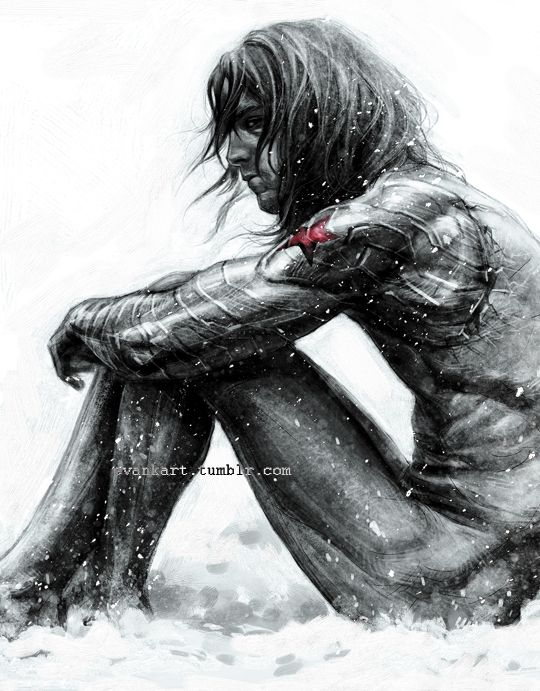 Winter Soldier in the snow fanart by evankart