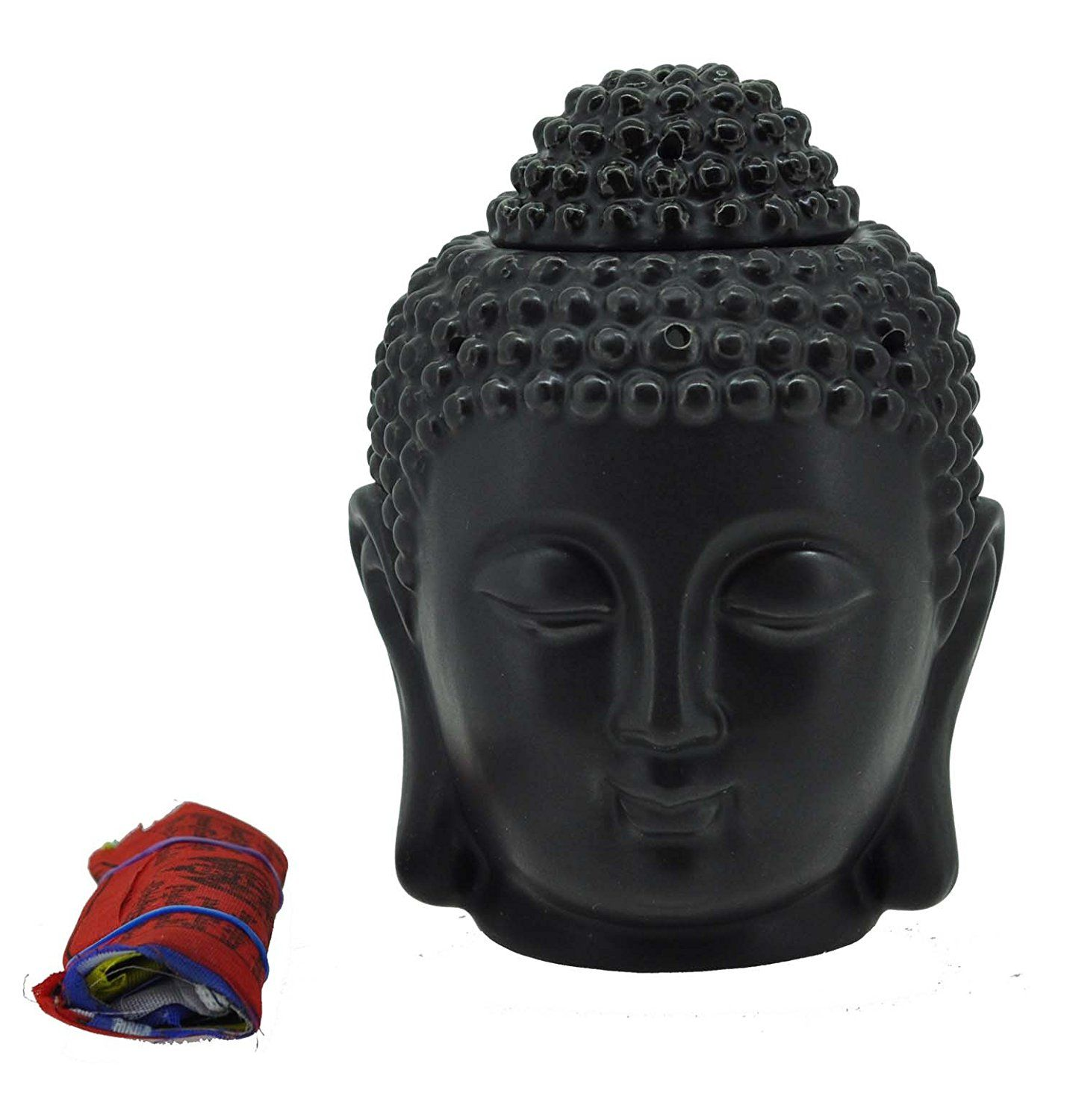 Mandala Crafts Porcelain Yoga Meditation Black Buddha Head Statue Oil