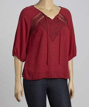Another great find on #zulily! Burgundy Lace Tie-Front Top - Plus by Fashion Ai #zulilyfinds