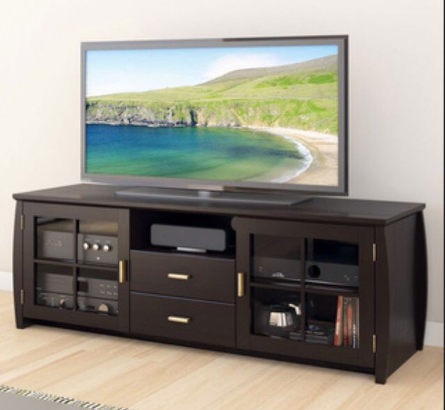 Tv stand plus 75 inch tv in living room man cave must - Dresser as tv stand in living room ...