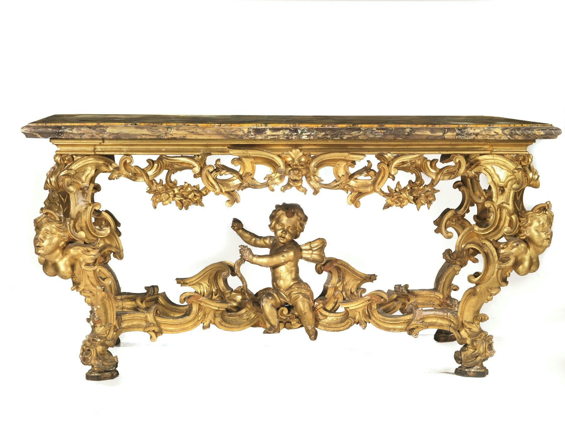 Console tuscany th century booked in carved and golden wood