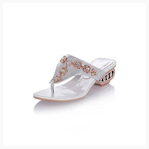 6fef21fc22621c Lucksender Womens Rhinestone Mid Heel Flip-flops Slippers 10B(M)US Silver (