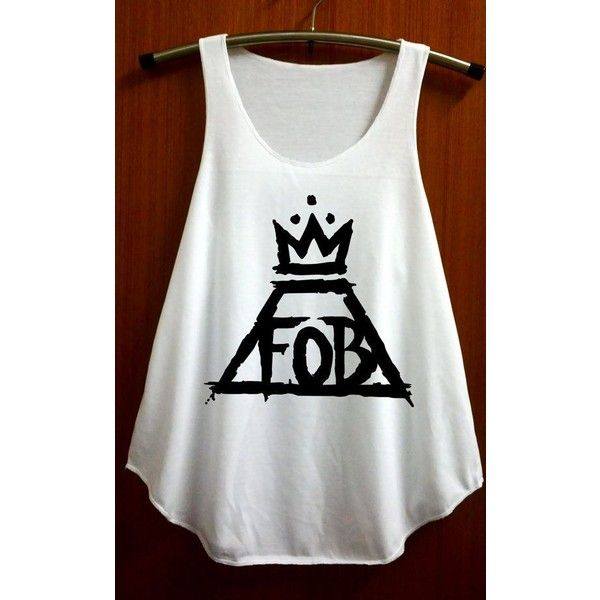 Items similar to FOB Fall Out Boy Shirt Symbol Shirt Tank Top Vest... ❤ liked on Polyvore featuring tops, shirts, tank tops, sleeveless t shirt, white tank top, vest tank top, vintage tank top and white singlet