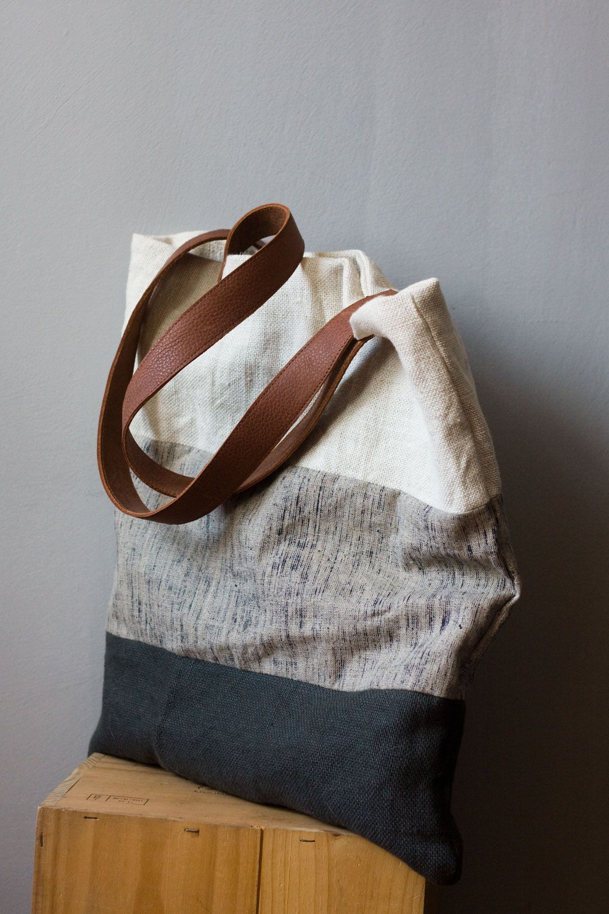 Lniana Torba W Pasy Ze Skorzanymi Raczkami Linen Bag Leather Handle Burlap Bag