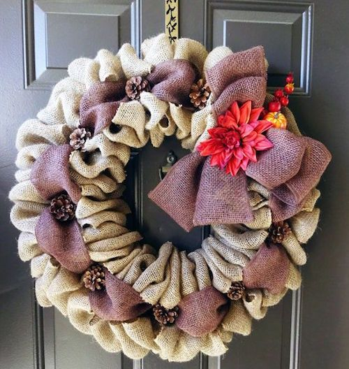 fall wreaths how to make multi colored burlap wreath video wreaths burlap and craft. Black Bedroom Furniture Sets. Home Design Ideas