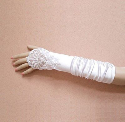 Lace and Bow Fingerless Elbow Length Gloves  $34.00