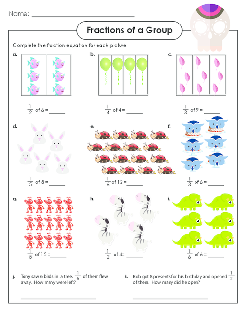 Fractions of a Group Fractions, Free math worksheets
