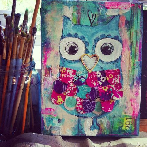 Baby Lux Blog | BabyLuxDesign #owlpainting #painting #tylerlarsen #mixedmediaart #owl