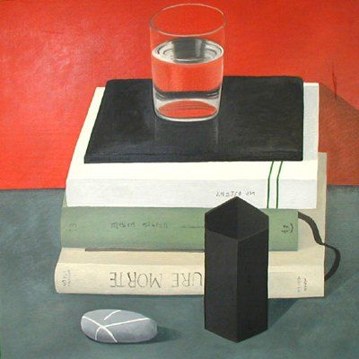 Books on red, by Nathalie Du Pasquier