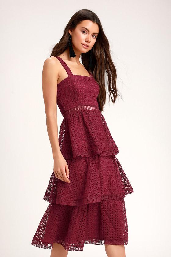 Outstanding Burgundy Crochet Lace Ruffled Midi Dress Midi Ruffle Dress Burgundy Midi Dress Lace Dress Boho