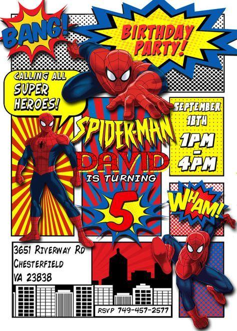 Spiderman invitation spiderman birthday party comic book customized spiderman invitation spiderman birthday party comic book customized superhero invitation printable stopboris Image collections