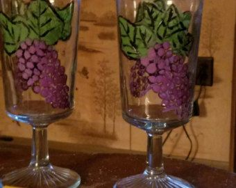 WINE Bottle Wine GLASSES and GRAPES painted on by DancingBrushes