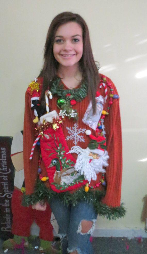 duck dynasty air freshner hillbilly redneck ugly christmas sweater singing penguin mens small womens medium to large - Redneck Christmas Sweaters