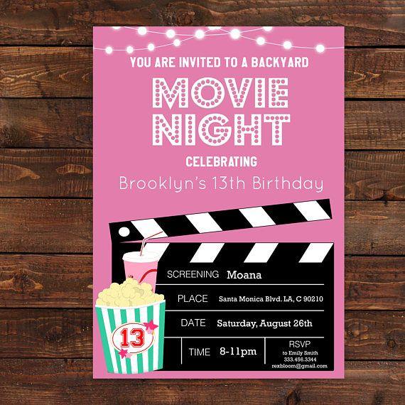 pink girls movie night party invitation pink movie printable