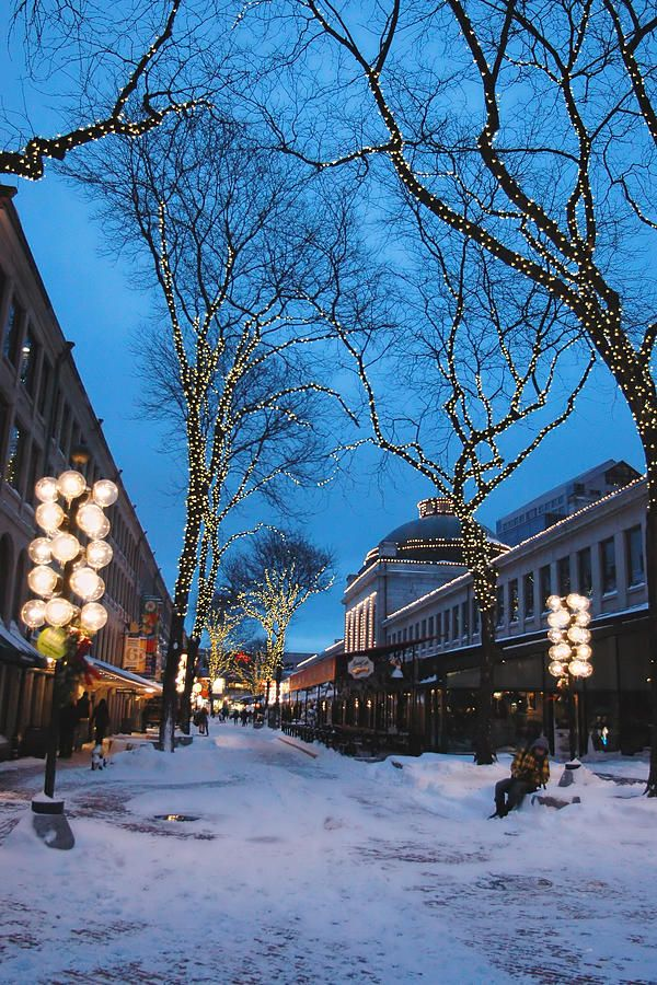 A quiet snow covered lane near Boston's Quincy Market at