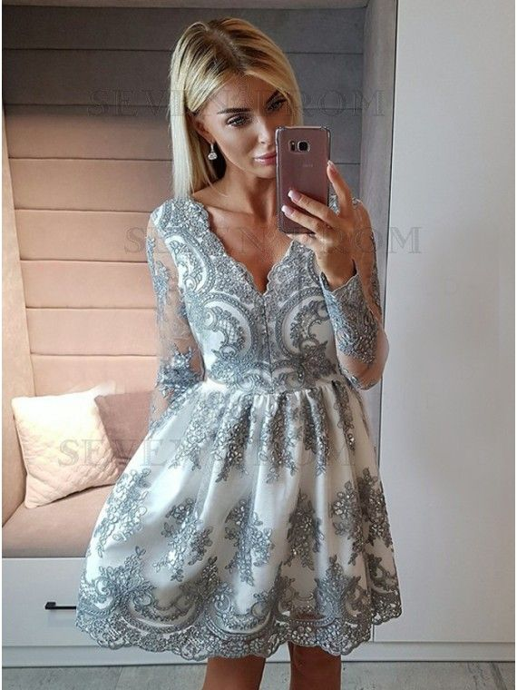 A Line V Neck Long Sleeves Silver Appliques Short Homecoming Dress