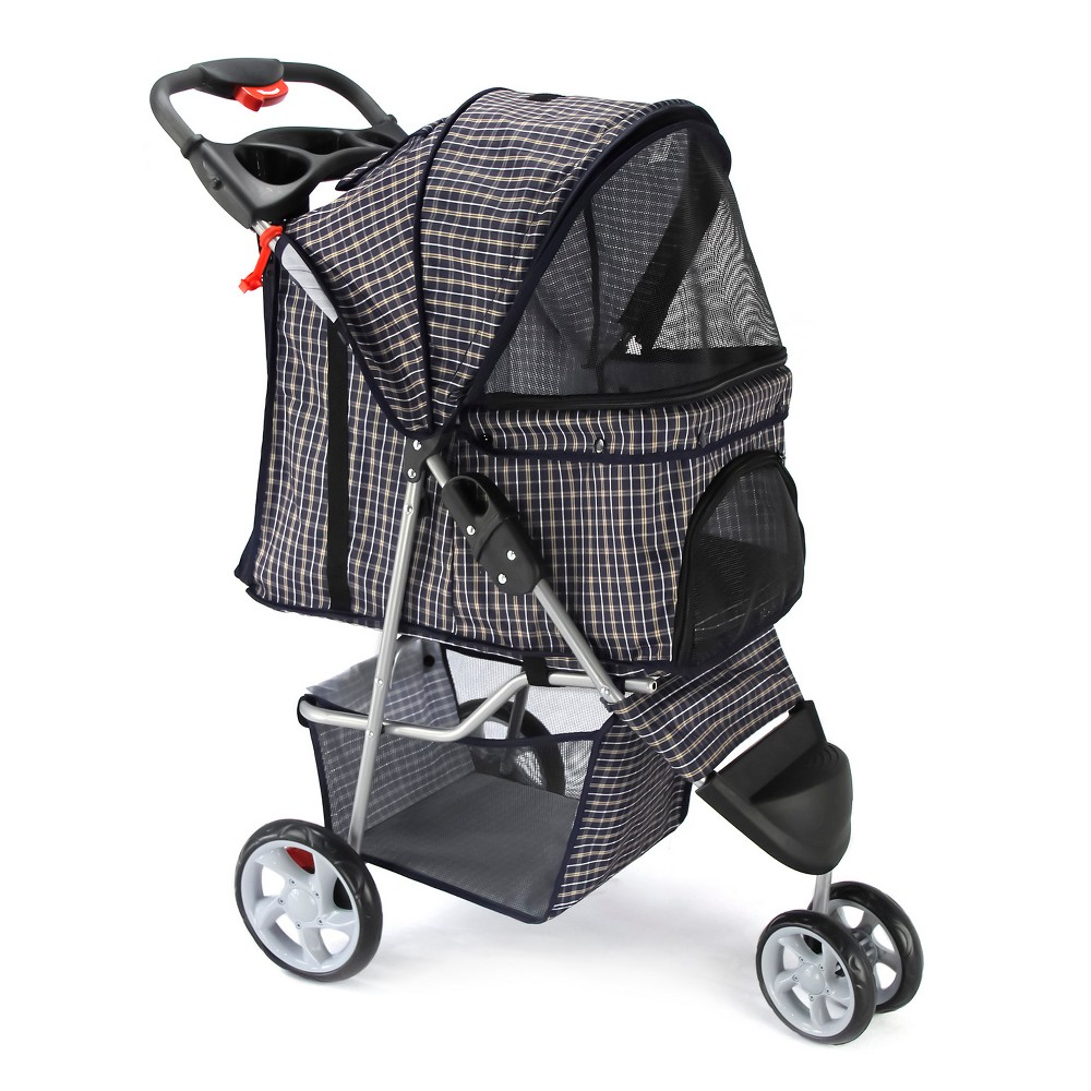 Paws pals 3wheel jogger pet stroller plaid blue with