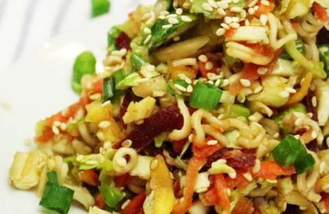 This is a crisp and crunchy slaw that is infused with Asian flavors, and a little kick of spice from that oh-so-incredible sriracha sauce. We based this recipe