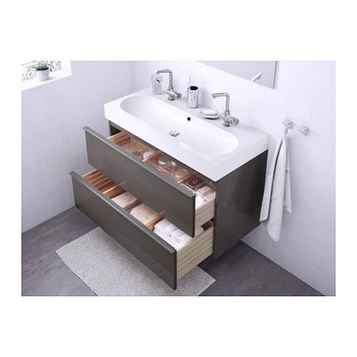 GODMORGON / BRÅVIKEN Servantskap med 2 skuffer - høyglans grå - IKEA