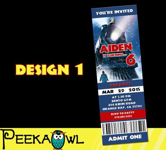 Printable The Polar Express Movie Invitation Ticket By